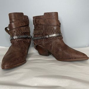 Dumond brown rustic western cowboy banded buckled boots 36